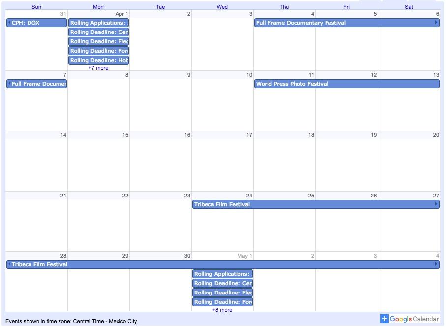 Calendar For Filmmakers