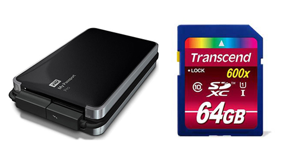 WD Passport 2TB Transcend SD Card 64G