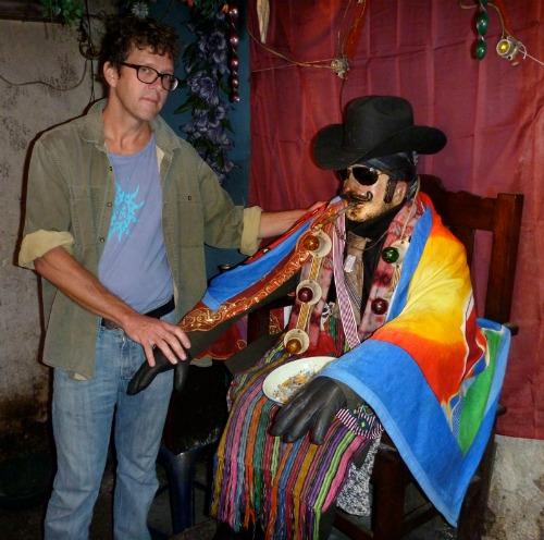 Filmmaker Robert Flanagan with Maximón