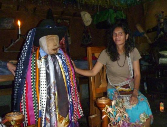 Filmmaker Suzan Al-Doghachi with Maximon
