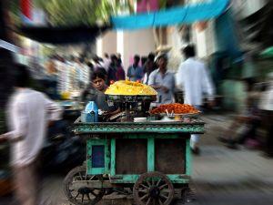 A street vendor in Calcutta, India