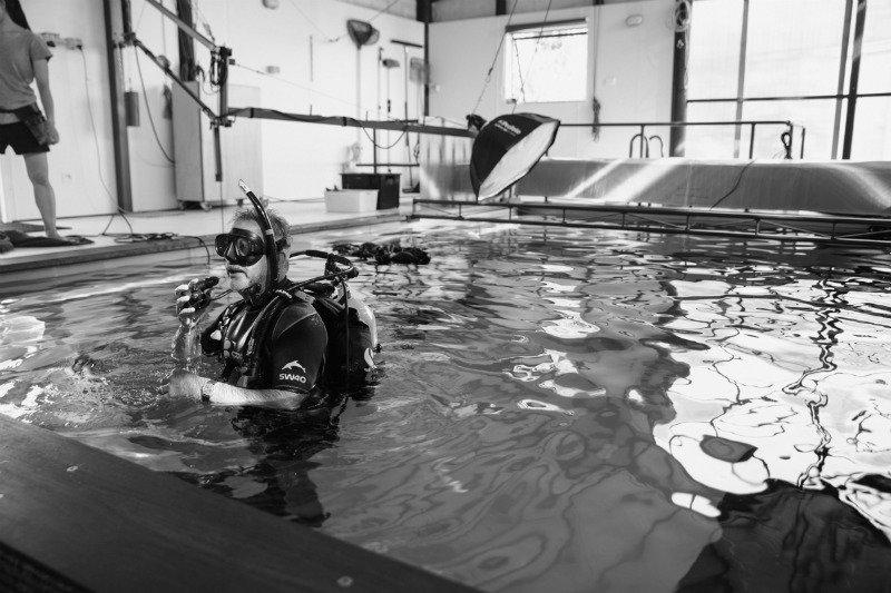 Jose G. Cano in his underwater photography studio, New Zealand.